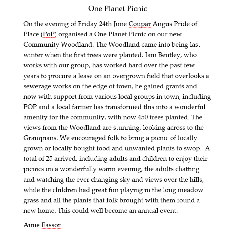 Coupar Angus Pride of Place text One Planet Picnic 2