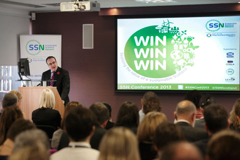 Paul Wheelhouse, MSP, Minister for Environment and Climate Change, Scottish Government, addresses the SSN Conference 2013